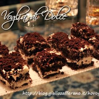 Quadrotti al cioccolato con nutella e crema al latte