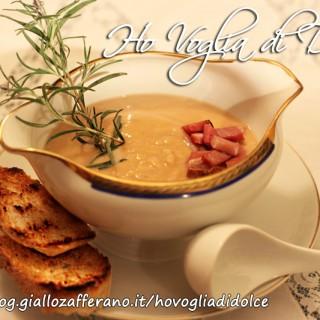 Crema di ceci e patate con pancetta affumicata