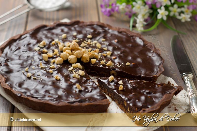Crostata con ganache al cioccolato e nocciole | Ho Voglia di Dolce