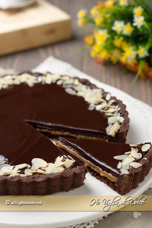 Crostata al cioccolato e caramello mou
