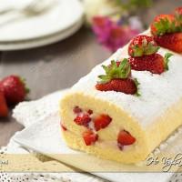 Rotolo con crema e fragole