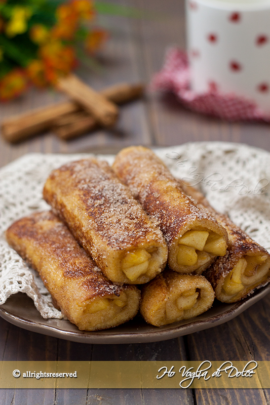 French toast roll ups con mele e cannella ricetta rotolini di pancarrè dolci