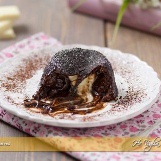Tortino al cioccolato con cuore morbido bianco